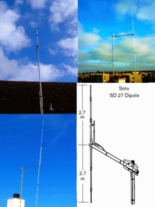 Sirio SD 27 Dipole CB/10 meter Base Antenna