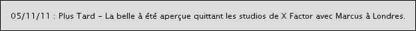 -[/align=center] 05/11/11 : Aujourd'hui, Janet  à été aperçue ce rendant dans les studios pour les répétition de X Factor.   -[/align=center]