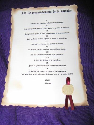 Gut bekannt les 10 commandements du parrain et de la marraine avec sceau et  NJ18