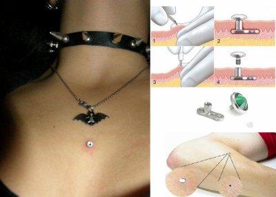 Le Microdermal est une révolution dans le monde du Piercing. Cet implant en  Titane, en forme de T se pose très facilement sous la peau et présente de