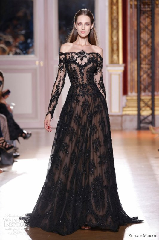 c3e963ed6fe New Sexy Zuhair Murad Dresses off the Shoulder Long Sleeve Black Lace Prom  Evening Dresses ZH80