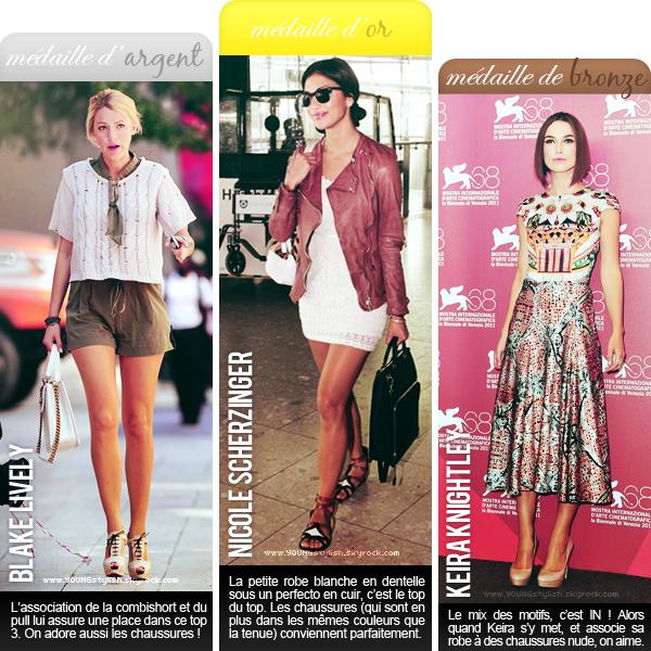 ♦  07  │  Podium des tops de la semaine   Article posté le 4 septembre 2011 par Natalia.   ●