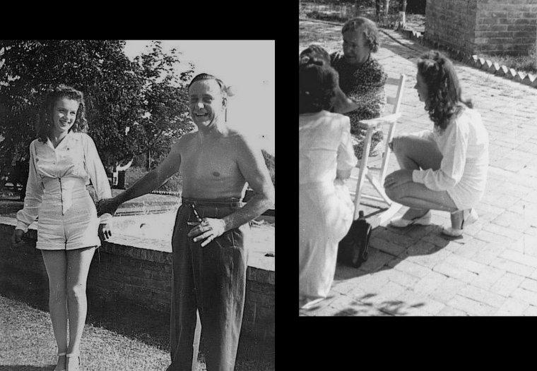 En 1944, elle rencontre pour la première fois sa demi-s½ur, Berniece BAKER-MIRACLE (photos du bas), dans le Tennessee, son demi-frère, Hermitt Jack, étant mort plus tôt. La première photo quasi professionnelle de Norma Jeane est prise à l'automne 1944 par le photographe David CONOVER (photos couleures) dans le cadre d'une campagne de l'armée américaine pour illustrer l'implication des femmes dans l'effort de guerre (photos 1,3,5 Norma et ses collègues de travail). En quelques mois, elle fait la couverture d'une trentaine de magazines de pin-ups et commence à se faire connaître comme la « Mmmmm girl ».