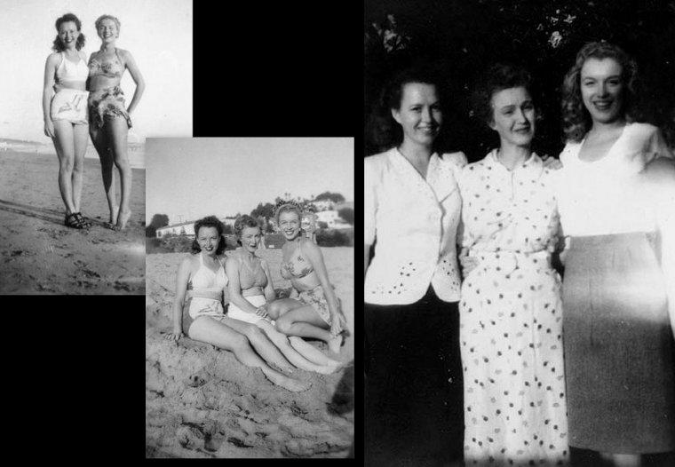 Norma Jeane aux alentours de 1944 : On la voit ici avec son mari Jim (à l'extrême droite) ainsi qu'un ami, avec sa soeur Berniece qui a écrit un livre à sa mémoire, et le tout premier article du jeune modèle Norma Jeane paru dans le magazine MOVIELAND en 1945.