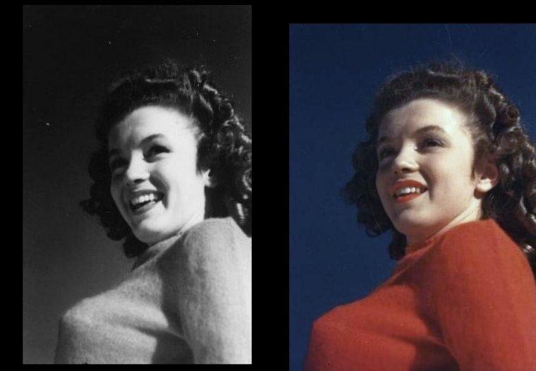 Autre session de David CONOVER avec le fameux pull rouge que Norma Jeane porte sur des photos prisent par De DIENES (voir plus haut).