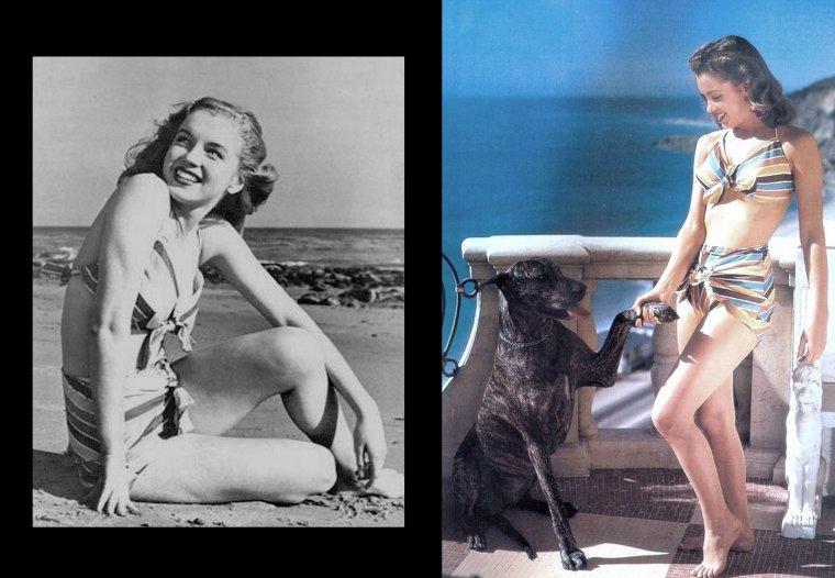 Certainement la session la plus connue de Joseph JASGUR, Norma Jeane en bikini multicolore sur la plage, dessinant un coeur sur le sable (1946).