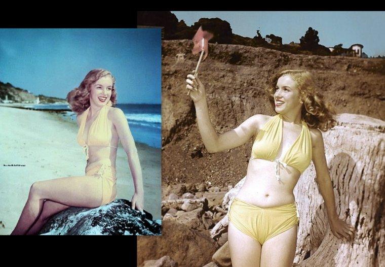 Très sollicitée en cette année 1946, la jeune Norma Jeane pose pour Richard C MILLER, ici en bikini.