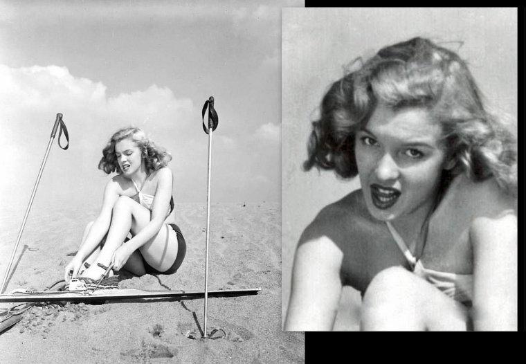 Marilyn lors d'une session publicitaire en 1947 sur des skis, assez insolite. (part 2).