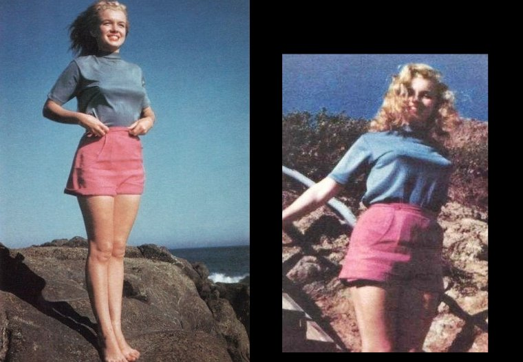 Marilyn photographiée par Bill BURNSIDE : Photographe écossais mais vivant à Los Angeles, qui travailla de nombreuses fois avec Marilyn  entre 1946 (février) et 1948, et , selon lui, obtint ses faveurs, pendant qu'ils s'efforçaient ensemble d'élaborer son image.