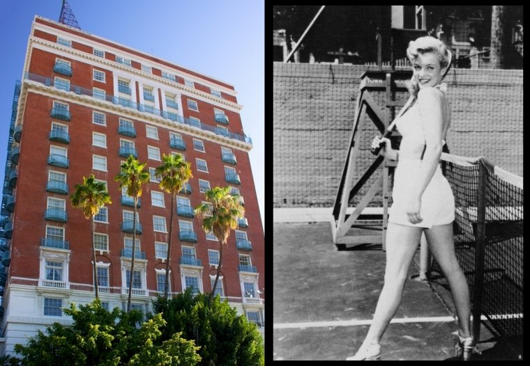 """Adresse prestigieuse où se montrer en cette année 1948 pour une jeune starlette, Marilyn au """"Town House Hotel"""" de Los Angeles."""