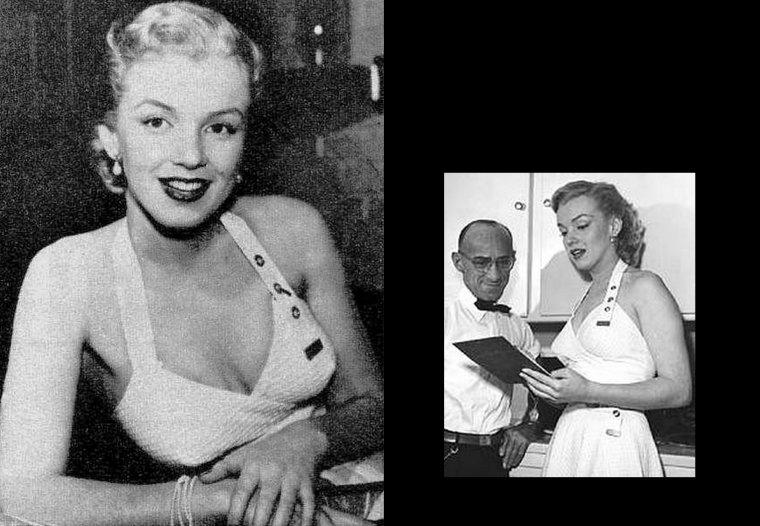 1950, Marilyn chez Johnny HYDE, son agent et imprésario de l'époque (photos Earl LEAF) : Johnny HYDE était un célèbre imprésario hollywoodien durant les années 1940. Il devint connu pour avoir lancé la carrière de Marilyn. Bien que plusieurs rumeurs aient parlé d'une liaison entre eux, Marilyn a affirmé que leur relation était seulement platonique. À cette époque, il était marié et avait trois enfants. Il est terrassé d'une crise cardiaque en décembre 1950.