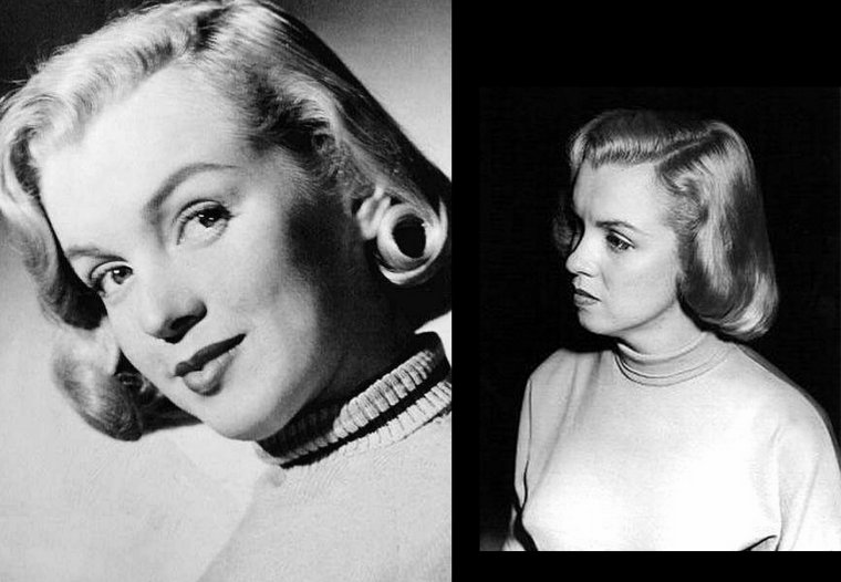 """Cette année 1951 sera riche côté cinéma pour Marilyn ; en effet elle tournera dans pas moins de 4 films. On commence avec ces photos publicitaires pour le 1er des 5 films 'Home town story""""."""