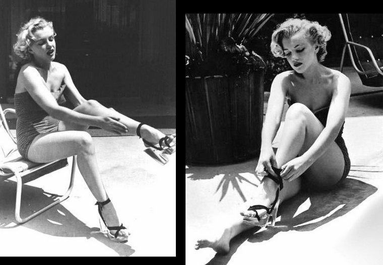 """1951 : séance photos de Phil BURCHMAN avec Marilyn posant près de la piscine du fameux hôtel """"Beverly Carlton"""" où déjà elle posa par le passé."""