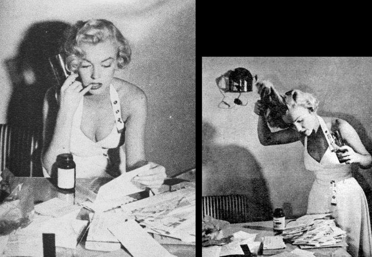 """1951 : photos publicitaires, covers et backstages autour du film """"As young as you feel"""" (Rendez-moi ma femme) de Harmon JONES. Marilyn joue le rôle de la secrétaire du directeur de l'imprimerie et fait montre de professionnalisme et de détermination puisqu'elle s'adresse même à son chef pour lui rappeler les devoirs de sa fonction lorsqu'il perd son sang-froid (ne pas rater l'instant où elle lui tire la langue, dans son dos)."""