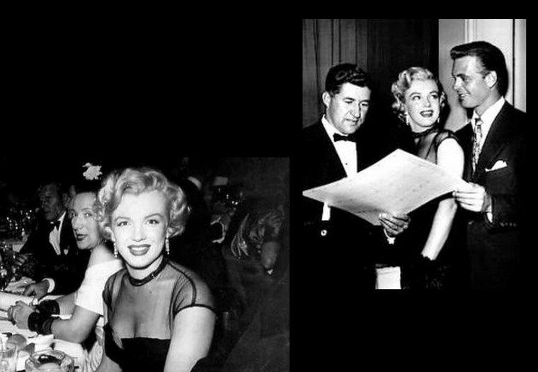 """1951 : C'est au bras de David WAYNE que Marilyn se rend à une soirée dansante au """"Ciro's Club"""" ; s'ensuivra en fin de soirée, une visite parmi les marins sur le bateau """"USS Benham"""". On remarquera que Marilyn porte une des robes qu'elle portait dans le film """"As young as you feel""""."""