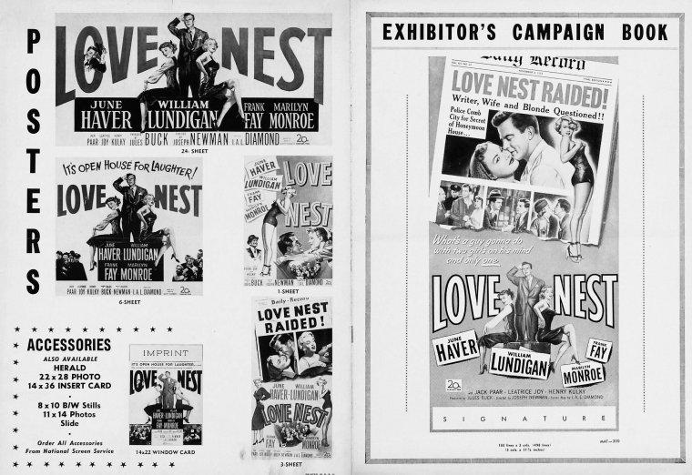 """1951 : AFFICHES du film """"Love nest"""" (Nid d'amour) de Joseph NEWMAN."""
