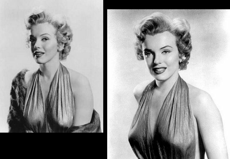 1952, dans le même style que les photos précédentes, Marilyn pose pour Bruno BERNARD vêtue en robe lamée or.