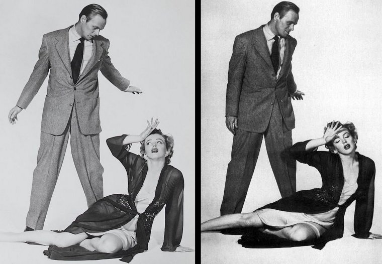 "1952, photos promotionnelles du film ""Don't bother to knock"" où Marilyn pose aux côtés de Richard WIDMARK, Lurene TUTTLE (photo) et Donna CORCORAN (la petite fille)."