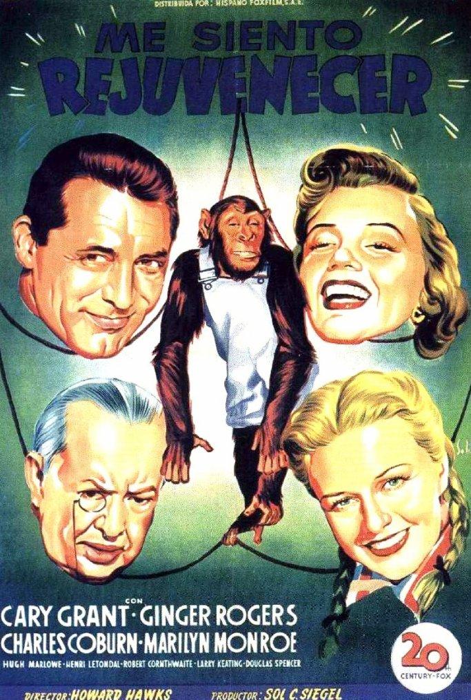 """1952, AFFICHES MONDIALES du film """"Monkey business"""" (Chérie, je me sens rajeunir) de Howard HAWKS."""