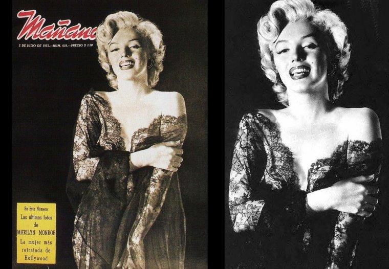 1952, photos légendaires de Marilyn en déshabillé noir, sous l'objectif d'Ernest BACHRACH.
