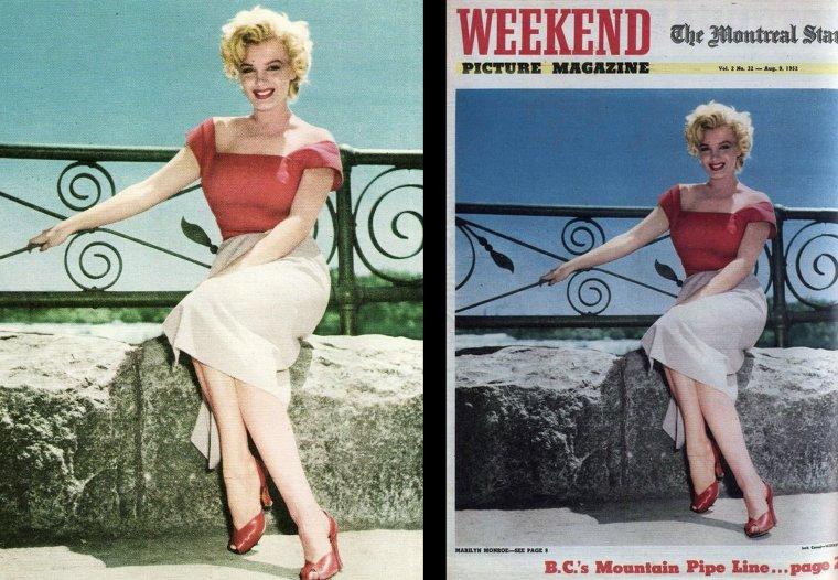 """1952, Marilyn se rend dans la ville de Niagara-Falls, à Ontario, au Canada afin d'y tourner """"Niagara"""" ; c'est sous l'oeil du photographe Jock CARROLL que l'on peut voir Marilyn courir dans les rues de la petite ville ou visitant une entreprise de coutellerie, avant de se faire voir offrir une magnifique ménagère. On la voit également avec le metteur en scène Henry HATHAWAY."""