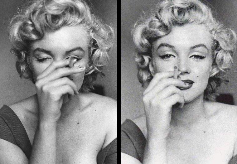 """1952, Marilyn dans sa chambre d'hôtel à Niagara-fall, sous l'oeil de Jock CARROLL, relisant le script du film """"Niagara"""", se faisant belle avant de s'octroyer une pause cigarette, puis se pliant au jeu des autographes même en dînant. Ces photos sont issues du livre """"Falling for Marilyn, the lost niagara collection"""" by Jock CARROLL (part 2)."""