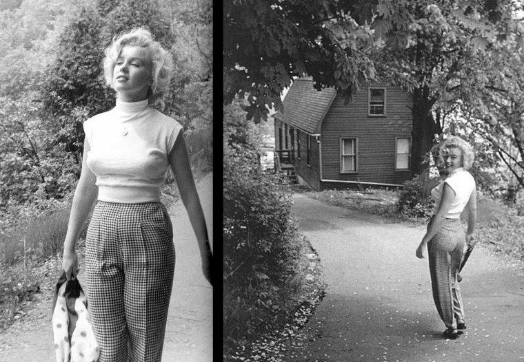 """1952, sous l'oeil de Jock CARROLL, Marilyn visite les alentours de Niagara-Fall où elle s'est rendue afin d'y tourner un de ses films qui deviendra mythique, """"Niagara"""" d'Henry HATHAWAY / Les photos ainsi que le film datent de 1952, mais ce dernier ne sortira qu'en 1953 sur les écrans, d'où parfois une certaine confusion dans les filmographies."""