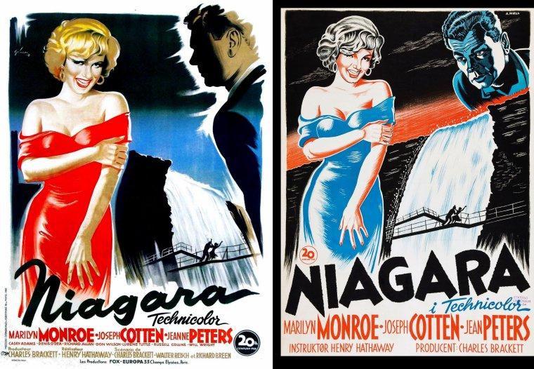 "AFFICHES MONDIALES du film ""Niagara"" de Henry HATHAWAY, film sorti en 1953."