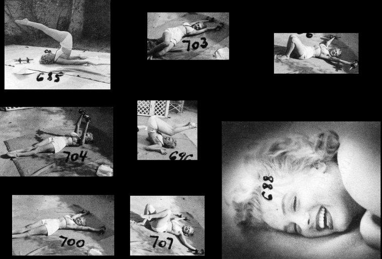 """1953, Marilyn sur l'une des terrasses du """"Bel-Air Hôtel"""" photographiée par André De DIENES au matin faisant sa gymnastique, mais avec une variante pour ce qui est de sa tenue par rapport aux photos précédentes (part 2)."""