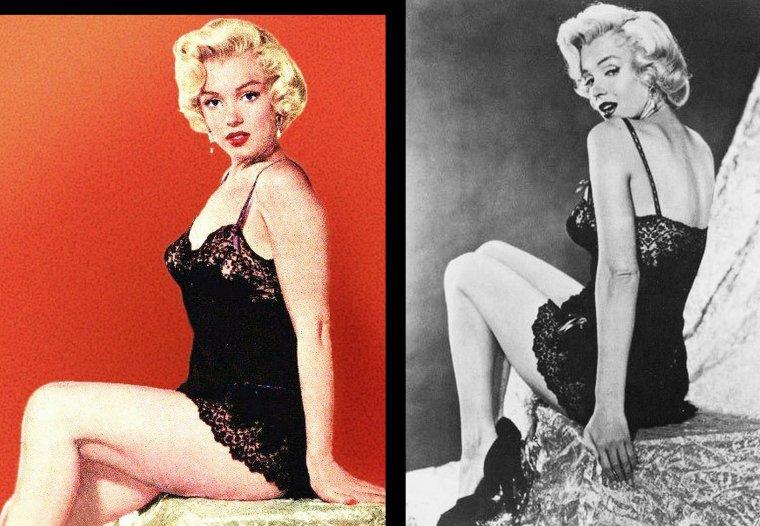 1953, Marilyn pose pour John FLOREA en nuisette.