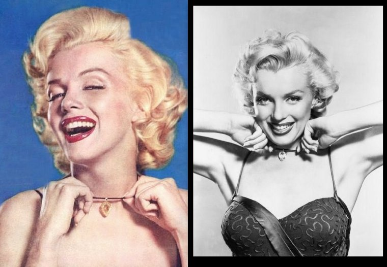 "1953, photos publicitaires de Marilyn prisent par Frank POWOLNY pour le film ""Gentlemen prefer blondes"" de Howard HAWKS / Pour le besoin des photos, Marilyn se voit prêter par un grand joailler, un superbe diamant en forme de poire."