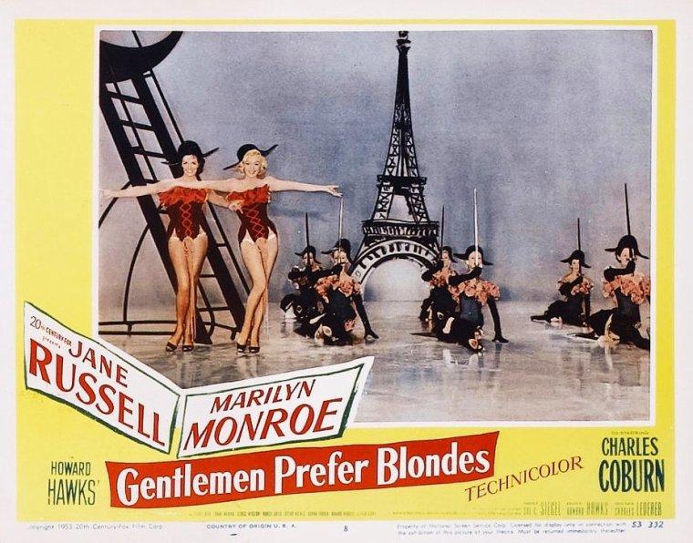 """1953, AFFICHES MONDIALES du film """"Gentlemen prefer blondes"""" (Les hommes préfèrent les blondes) de Howard HAWKS."""
