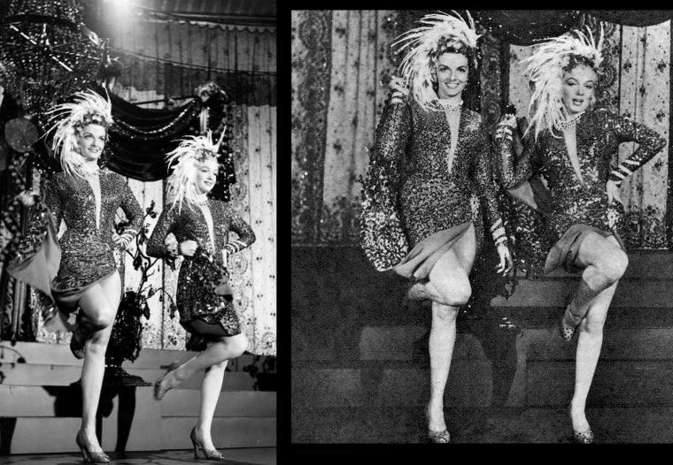 """1953, Marilyn et Jane RUSSELL en pleine répétition de leur numéro d'entrée chantant la chanson """"A little girl from little rock"""" pour le film de Howard HAWKS, """"Gentlemen prefer blondes"""" (Les hommes préfèrent les blondes) (part 2)."""