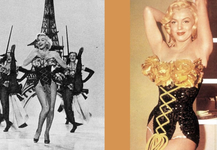 """1953 """"Gentlemen prefer blondes"""" (Les hommes préfèrent les blondes) de Howard HAWKS / HOMMAGE Jane RUSSELL / Symbole de la sensualité féminine à la fois agressive et décomplexée, Jane RUSSELL doit son salut à la sortie du 'Banni' où cette jeune femme aux airs insolents à la Simone SIMON allongée lascivement dans le foin, décolleté triomphant et jambes dénudées, narguait la censure d'une moue provocatrice. Rien ne destinait cette jeune pédicure du Minnesota à l'éducation plutôt stricte, à devenir la cible des ligues puritaines. Garçon manqué ayant grandi entre ses quatre frères, la jeune Jane caresse le rêve de devenir actrice, suivant des cours d'arts dramatiques tout en posant pour des photographes. Son physique emprunt d'une maturité évidente la fait remarquer par un agent artistique à la recherche de la partenaire idéale de Robert MITCHUM dans la première production d'un certain Howard HUGHES. Sélectionnée, Jane RUSSELL tourne sans trop y croire ce western sulfureux. La réputation du 'Banni' est telle que le bouche à oreille et l'affiche se passe de la meilleure publicité. Après une poignée de films insignifiants faisant la part belle à sa plastique généreuse, Jane RUSSELL parvient enfin, en 1953, à se démarquer de ce parfum de scandale qui lui colle à la peau grâce aux 'Hommes préfèrent les blondes'. Marilyn MONROE, la blonde, et Jane, la brune, font un malheur dans ce duo glamour un brin aguicheur. Le reste de la carrière de Jane reste hélas sans éclat, la confinant une fois de plus dans des rôles 'hot'. Après 'Macao, le paradis des mauvais garçons', 'Scandale à Las Vegas', 'L' Ardente gitane', puis 'Toute la ville est coupable', Jane RUSSELL arrête sa carrière en 1970.  Aspirant à une retraite paisible, Jane RUSSELL s'occupait depuis de nombreuses années d'aide aux orphelins et se consacrait à sa famille, loin des paillettes d'Hollywood.  C'est chez elle, entourée de ses proches, qu'elle s'est éteinte le 28 février 2011."""
