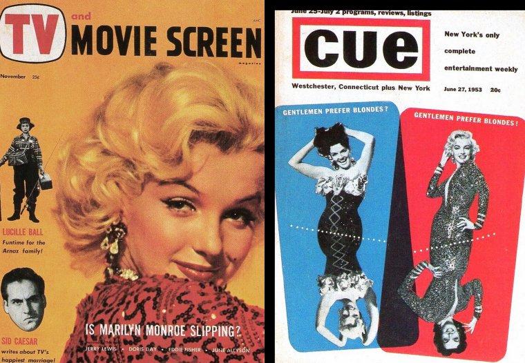 """1953, suite au film """"Gentlemen prefer blondes"""", Marilyn une fois de plus se verra propulser à la UNE des magazines de part le monde entier... Voici un échantillon de quelques covers de l'époque, ainsi que quelques publicités où Marilyn vante divers produits, tels le savon """"LUX"""", les shampoings """"HILTONE"""" ou encore les crèmes après-shampoing """"LUSTRE"""" (part 2)."""