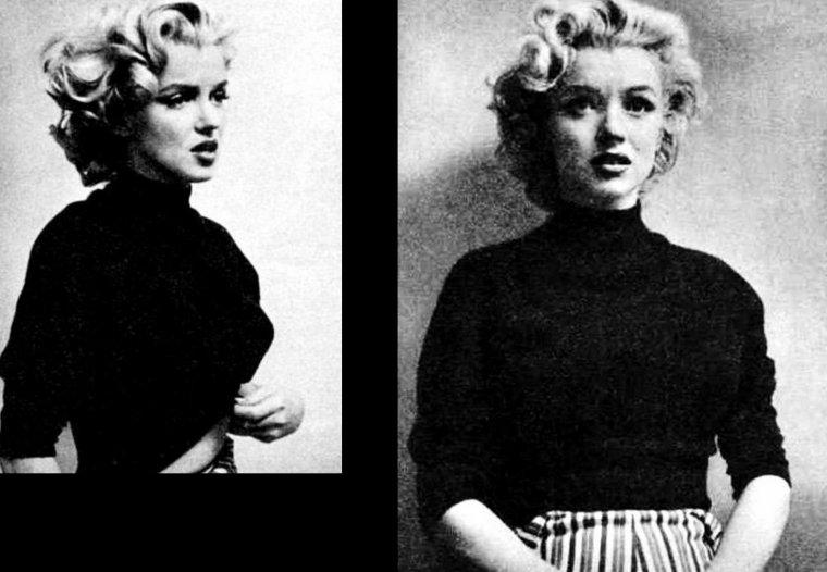 1953, Marilyn sous l'oeil de Ben ROSS, avec une session rappelant un peu celle, de par la tenue de Marilyn (pull noir et pantalon) d'Alfred EISENSTAEDT à Doheny-Drive.