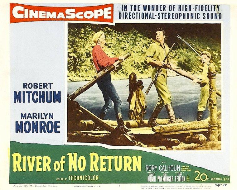 """1953, AFFICHES MONDIALES du film """"River of no return"""" (La rivière sans retour) d'Otto PREMINGER, tourné en 1953 et sorti dans les salles en 1954."""