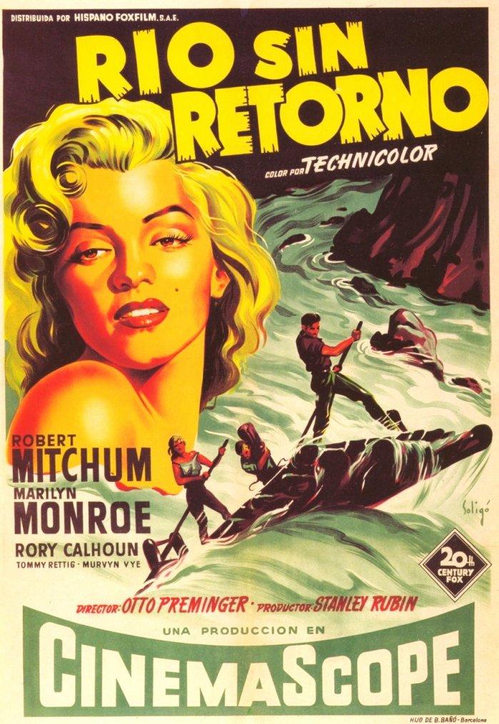 """1953, AFFICHES MONDIALES du film """"River of no return"""" (La rivière sans retour) d'Otto PREMINGER, tourné en 1953 et sorti dans les salles en 1954 (part 2)."""