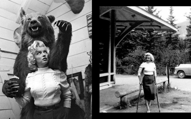 """1953, toujours sous l'objectif de John VACHON, Marilyn prend la pose à Banff (Canada) lors du tournage du film """"River of no return"""" d'Otto PREMINGER (part 6) : On peux voir sur la dernière photo Allan """"Whitey"""" SNYDER, maquilleur et ami de Marilyn."""