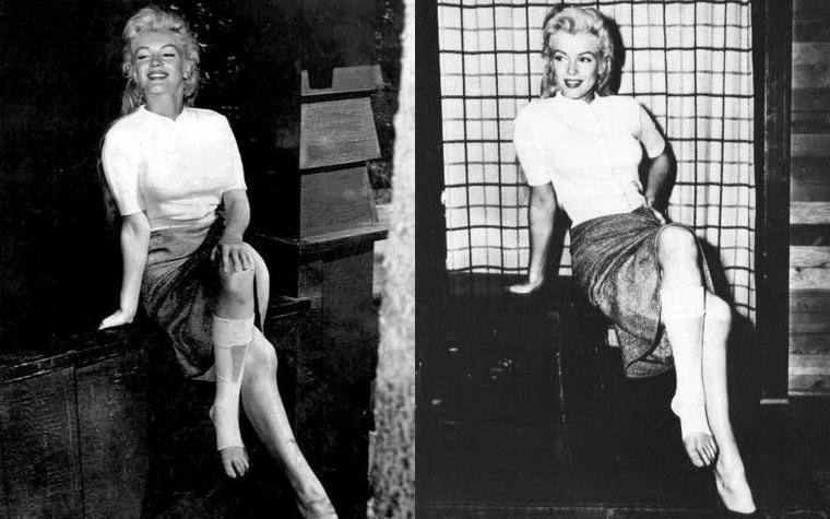 """On termine cette année 1953, avec notre belle Marilyn de retour aux Etats-Unis, plâtrée puis bandée suite à une chute lors du tournage de """"River of no return"""""""