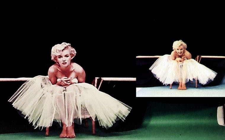 """Marilyn photographiée par Milton H GREENE le 10 Septembre 1954 - New York-  au studio de Milton, sur Lexington Avenue / Photos de la session """"B""""  """"Ballerina"""" / HISTOIRE / Une robe de ballerine, de la créatrice Anna KLEIN, avait été commandée plusieurs semaines à l'avance. Le jour de la séance des prises de vues, Marilyn avait pris un peu de poids et la robe était trop serrée. Milton et Marilyn décidèrent de faire tout de même une séance avec cette tenue, et la robe ne fut pas attachée dans le dos."""
