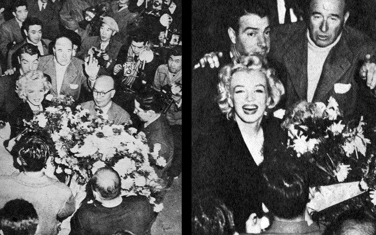 """Après avoir été escortés par la police de l'aéroport jusqu'à leur hôtel - """"l'Imperial Hotel"""" de Tokyo- Marilyn et Joe, accompagnés de Lefty, sont conviés à une fête privée qui se déroule dans une salle de l'hôtel. La réception va être assez folle : bon nombre de reporters et journalistes sont dans le hall et les fans se sont réunis à l'extérieur devant l'hôtel, scandant le nom de Marilyn, surnommé au Japon """"The honorable buttocks-swinging Madam"""" (""""L'honorable madame aux fesses qui swinguent""""). Marilyn fait alors une apparition sur le balcon de l'hôtel, pour tenter de calmer la foule qui, content de l'avoir aperçut, finit par se disperser."""