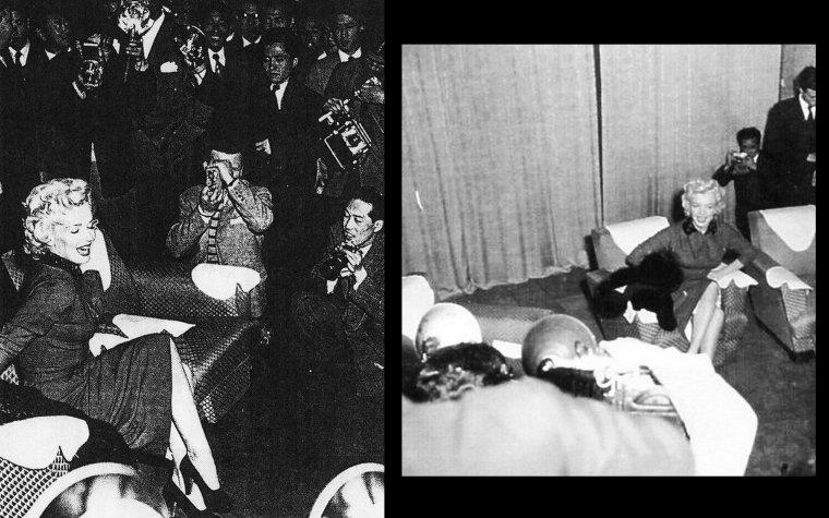 """Marilyn, vêtue d'une robe en laine rouge, et Joe, se rendent dans un salon privé de leur """"hôtel, l'Imperial Hotel"""" de Tokyo, où les attendent 75 journalistes japonais. Une conférence de presse est improvisée. Les japonais sont beaucoup plus intéressés par la présence de la star de cinéma Marilyn que par son mari, champion de base-ball. Joe décide alors de rester en retrait et les photographes ne cessent de mitrailler Marilyn qui semble y prendre un certain plaisir. Cependant, les journalistes ne vont poser que des questions futiles et sans intérêts à Marilyn; à la question d'un journaliste qui demandait """"Il paraît que vous ne portez pas de sous-vêtements sous vos robe. Est-ce vrai ? """". DiMAGGIO, posté dans le coin de la salle, commence à voir rouge. Il déteste ce genre de question déplacée ! Il ne s'enthousiama point non plus lorsque Marilyn annonça qu'elle avait prévu de passer quatre jours pour divertir les troupes de Corée du Sud. Agacé, Joe va alors se lever et entraîner Marilyn par le bras, direction la porte de sortie !"""