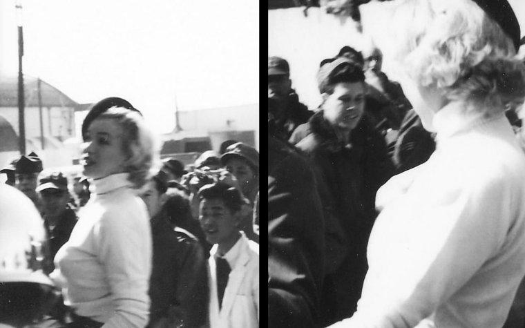 """8 Février 1954, Marilyn accompagnée par Joe et Lefty, se rend au camp """"Brady-Air Base"""" à Higashi-ku, Fukuoka. Le 9, on fait parader Marilyn en voiture, tandis qu'elle échange quelques mots avec des soldats de la 315ème compagnie... Plus tard, elle prononcera un discours, et un brunch sera servi pour clôturer la journée. / Cette parade en voiture rappelle celle d'Atlantic-City, où Marilyn faisait la promotion de son film """"Monkey business"""" en 1952 (voir dans le blog)."""