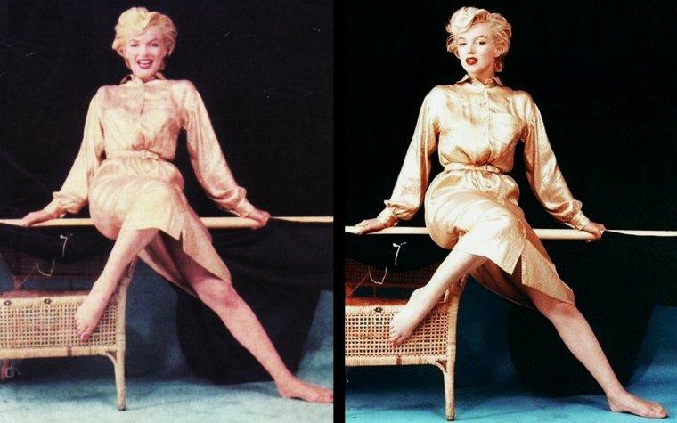 """1954, Marilyn reprend du """"service"""" avec cette session photos de Milton GREENE intitulée """"Gold dress"""" (très peu de photos)."""