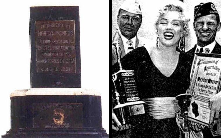 """Le 19 juin 1954, Marilyn reçoit un trophée """"Testimonial Appreciation"""" décerné par """"The American Legion"""", à Morningside Park dans la ville d'Inglewood (en Californie), pour son soutien des troupes américaines en Corée où la star se produisit sur scène devant les GIs en février de la même année. Marilyn porte une des tenues du film """"There's no business like show business"""" qu'elle s'apprête à tourner... A suivre !"""