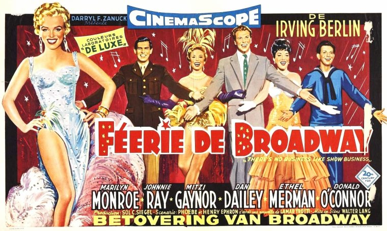 "1954 AFFICHES DIVERSES du film ""There's no business like show business"" (La joyeuse parade) de Walter LANG / PHOTOS des autres protagonistes du film incarnant la famille DONAHUE, Dan DAILEY, Ethel MERMAN, Johnnie RAY, Donald O'CONNOR et Mitzi GAYNOR."