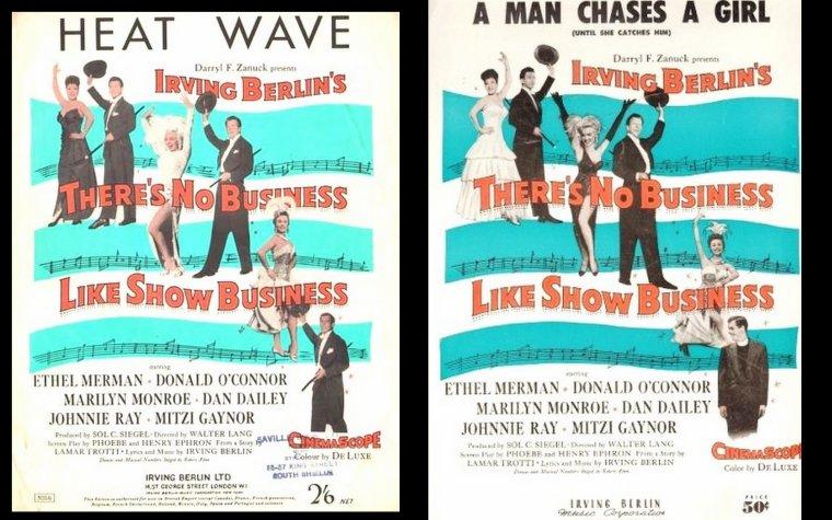"""1954 AFFICHES DIVERSES du film """"There's no business like show business"""" (La joyeuse parade) de Walter LANG / PHOTOS des autres protagonistes du film incarnant la famille DONAHUE, Dan DAILEY, Ethel MERMAN, Johnnie RAY, Donald O'CONNOR et Mitzi GAYNOR."""