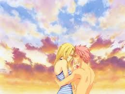 Natsu et Lucy a la plage