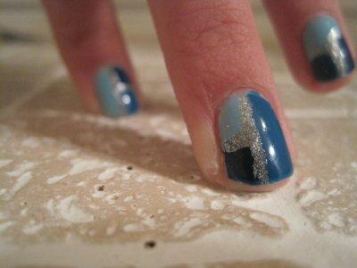 •Nail art• Carreaux bleus